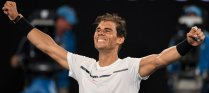 Spain's Rafael Nadal celebrates his victory against against Bulgaria's Grigor Dimitrov during their men's singles semi-final match on day 12 of the Australian Open tennis tournament in Melbourne on January 28, 2017. / AFP PHOTO / SAEED KHAN / IMAGE RESTRICTED TO EDITORIAL USE - STRICTLY NO COMMERCIAL USE