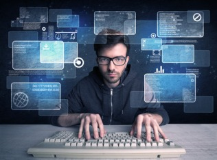 49498388 - a confident young hacker working hard on solving online password codes concept with a computer keyboard and illustrated digital screen, numbers in the background